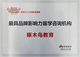 啄木鸟教育被新浪教育评为最具品牌影响力留学咨询机构